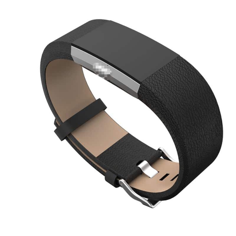 Fitbit Charge bandje kalfsleer zwart - Fitbitbandje.nl