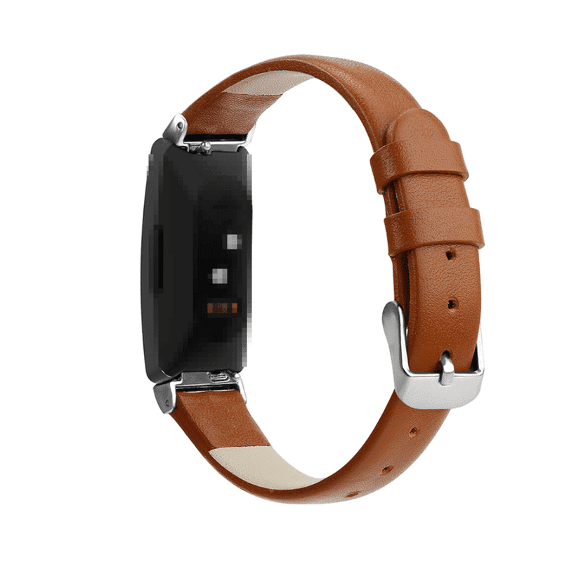 Fitbit Inspire bandje leer bruin - Fitbitbandje.nl