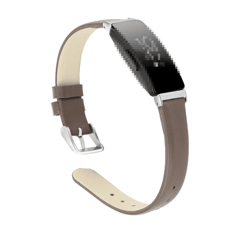 Fitbit Inspire bandje leer grijs - Fitbitbandje.nl