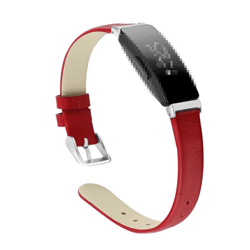 Fitbit Inspire bandje leer rood - Fitbitbandje.nl