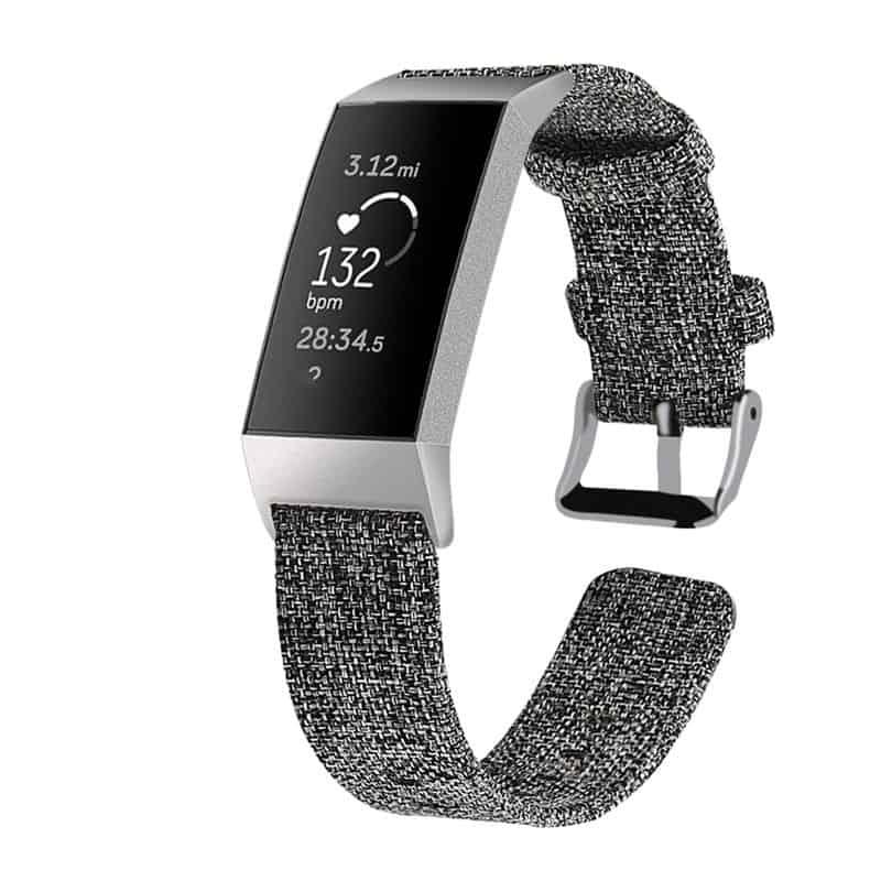 Fitbit bandje Charge 3 Nylon Grijs - Fitbitbandje.nl