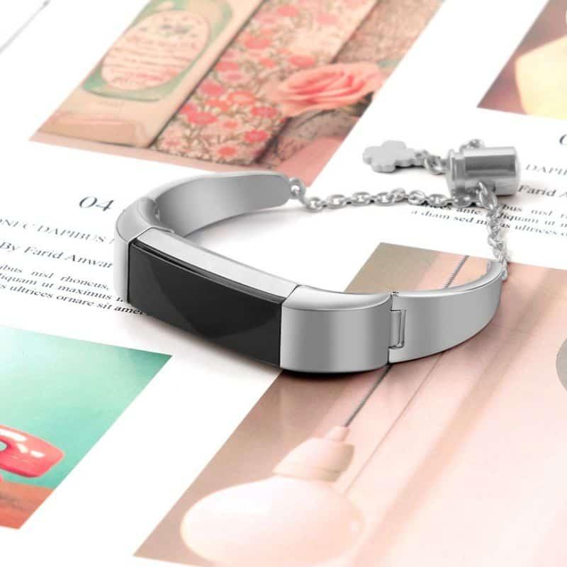 Fitbit bandje alta zilver met hanger - Fitbitbandje.nl