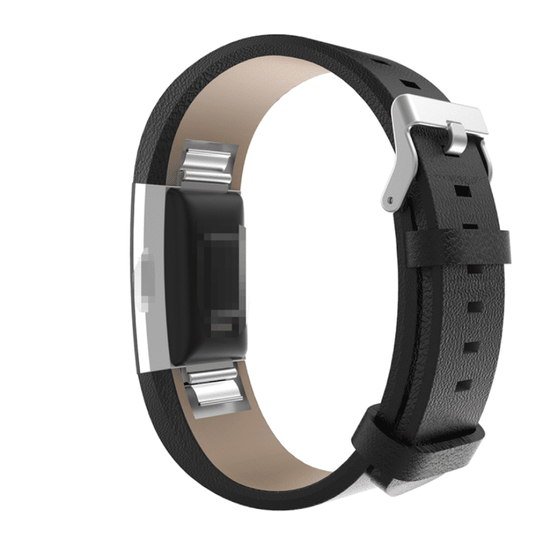 Fitbit bandje charge 2 kalfsleer zwart - Fitbitbandje.nl