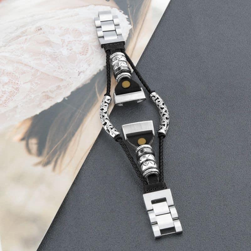 Fitbit bandje charge 3 - zwart leer - Fitbitbandje.nl