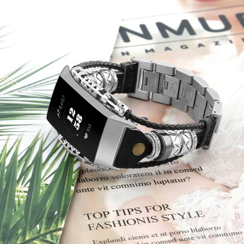 Fitbit bandje charge 3 - zwart zilver - Fitbitbandje.nl