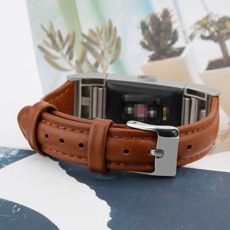 Fitbit charge 2 bandje bruin leer - Fitbitbandje.nl