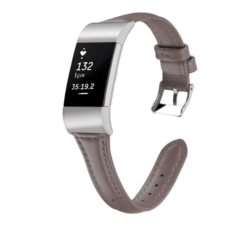 Fitbit charge 2 bandje grijs leer - Fitbitbandje.nl