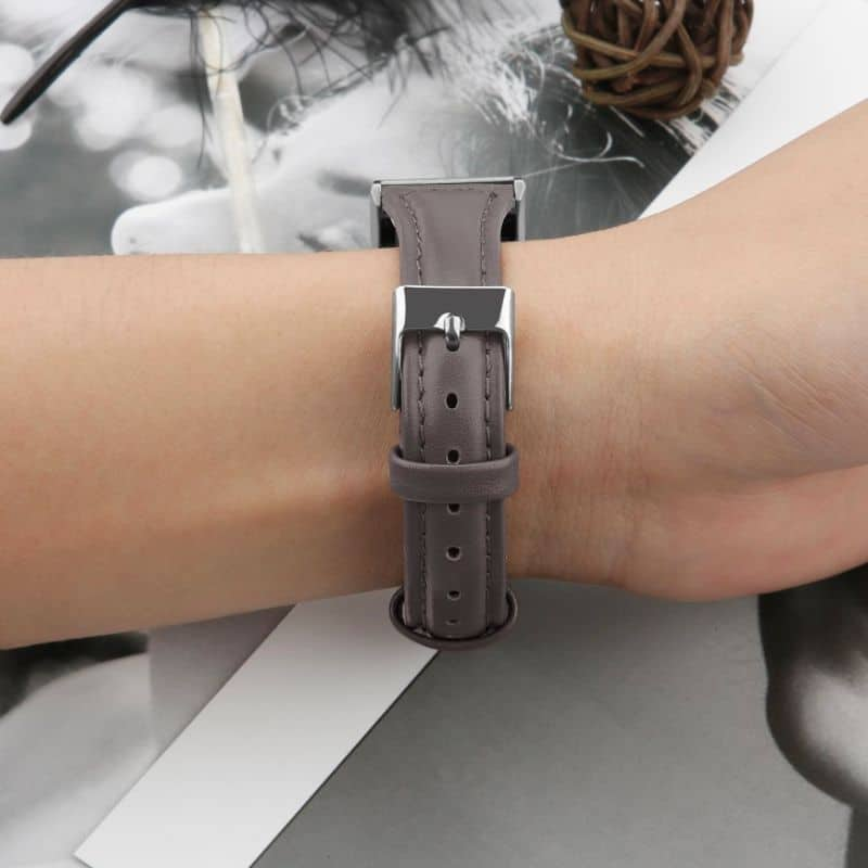 Fitbit charge 2 bandje leer grijs - Fitbitbandje.nl