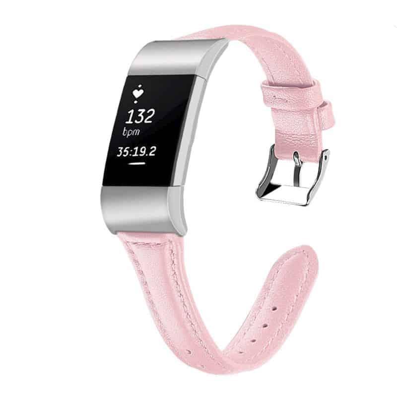 Fitbit charge 2 bandje roze leer - Fitbitbandje.nl