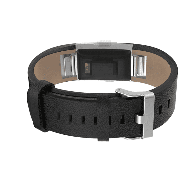 Fitbit charge 2 bandje zwart kalfsleer - Fitbitbandje.nl