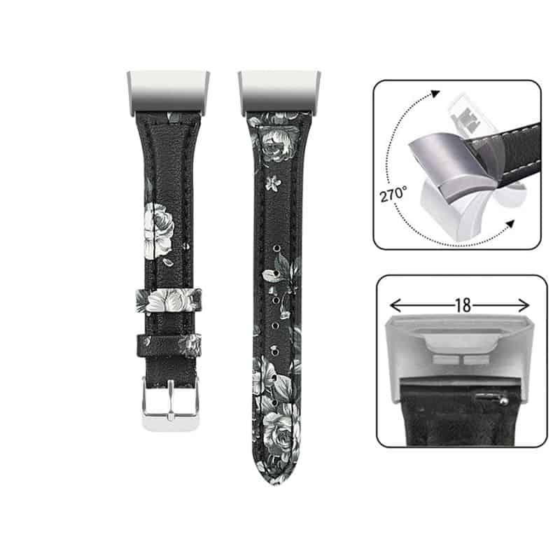 Fitbit charge 4 bandje leer grijs floral - Fitbitbandje.nl