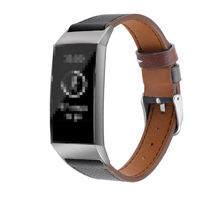 Fitbit charge 4 bandje leer zwart - Fitbitbandje.nl