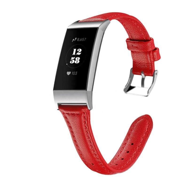 Fitbit charge 4 bandje rood leer - Fitbitbandje.nl