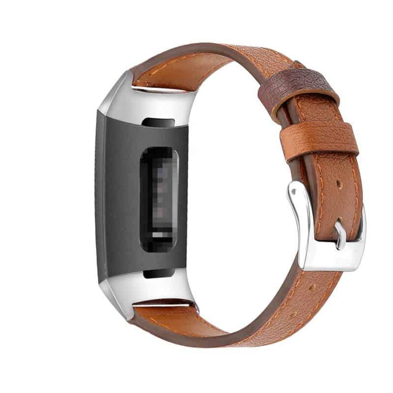 Fitbit charge bandje leer bruin - Fitbitbandje.nl