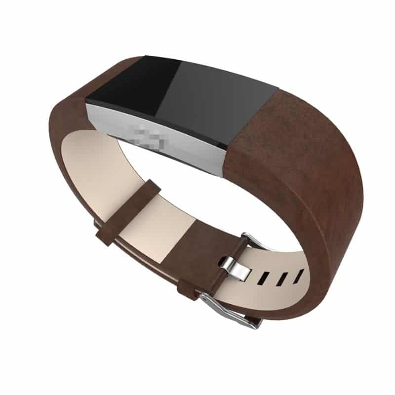 Fitbit charge bandje leer donkerbruin - Fitbitbandje.nl