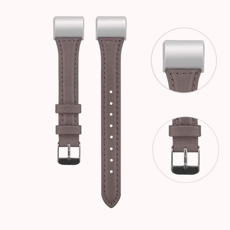 Fitbit charge bandje leer grijs - Fitbitbandje.nl