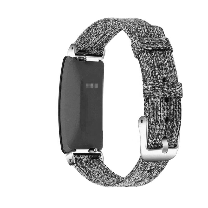 Fitbit inspire hr bandje canvas donkergrijs - Fitbitbandje.nl