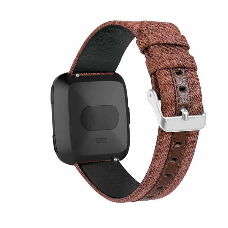 Fitbit versa 2 bandje leer nylon bruin - Fitbitbandje.nl