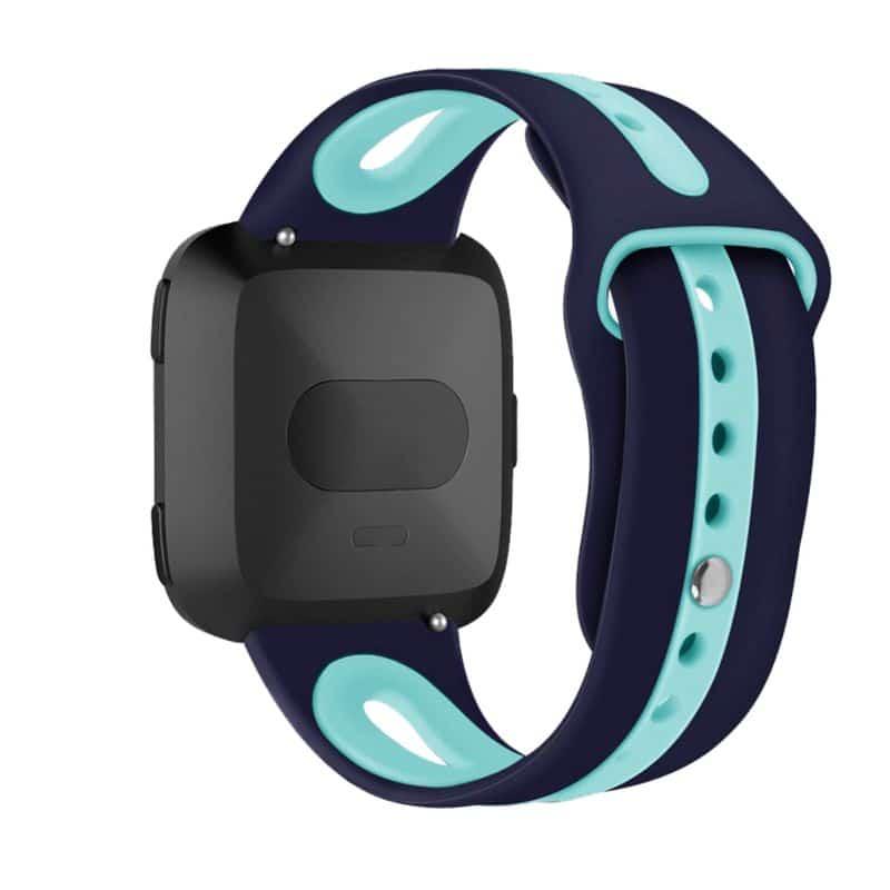 Fitbit versa 2 bandje marineblauw mintgroen - Fitbitbandje.nl