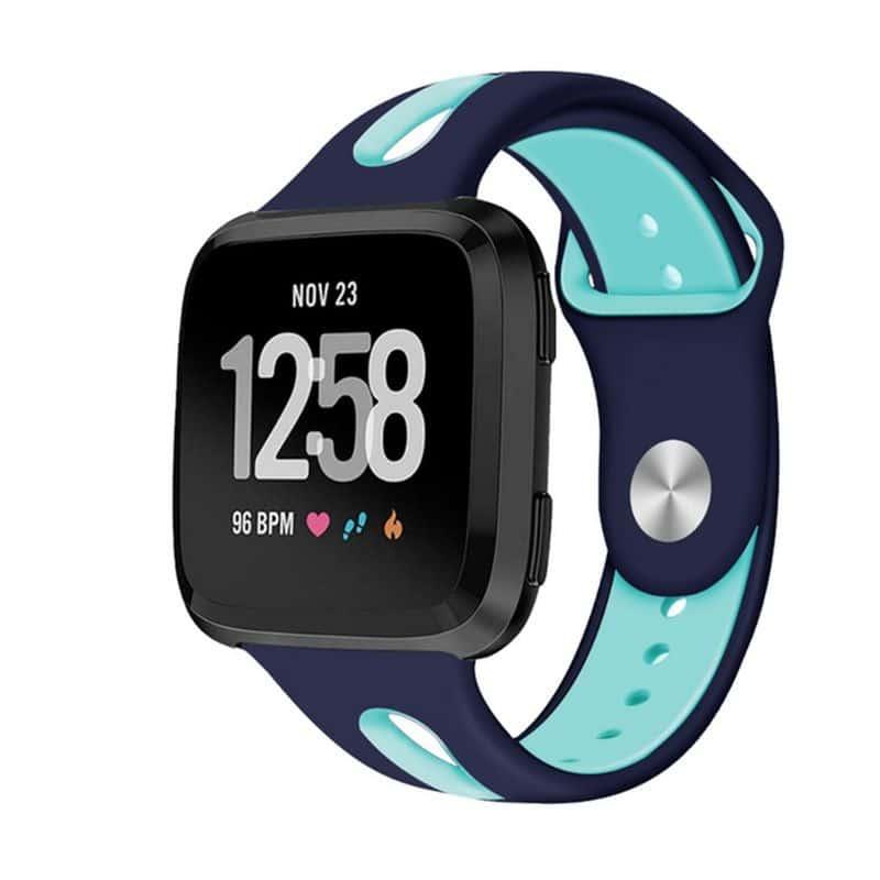 Fitbit versa 2 bandje sport marineblauw mintgroen - Fitbitbandje.nl
