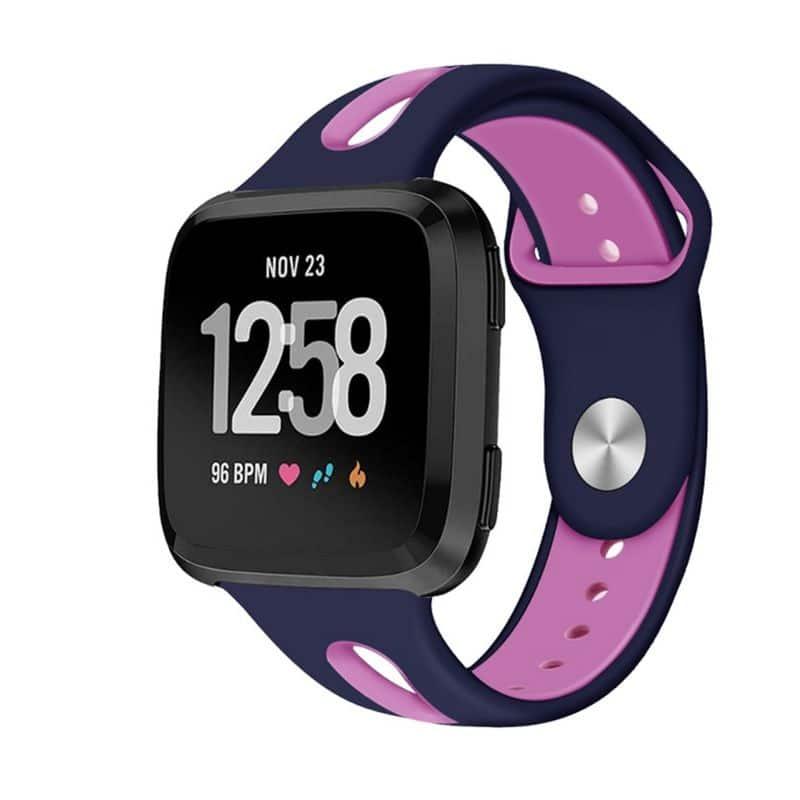 Fitbit versa 2 bandje sport marineblauw roze - Fitbitbandje.nl