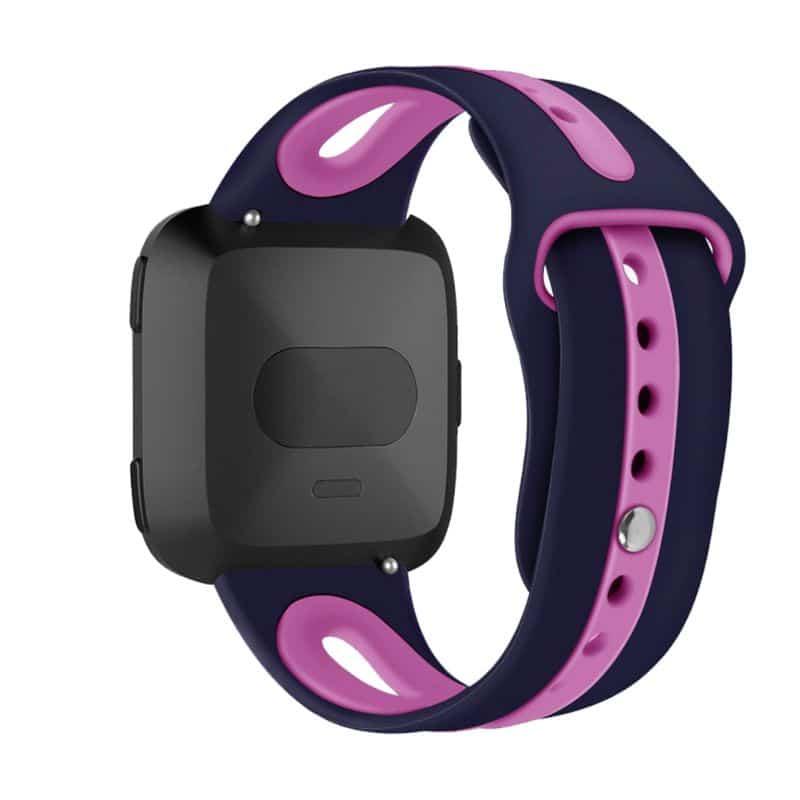 Fitbit versa 2 bandje sport marineblauw roze paars - Fitbitbandje.nl