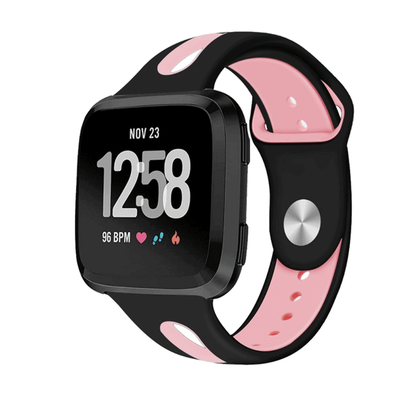 Fitbit versa bandje Sport zwart roze - Fitbitbandje.nl