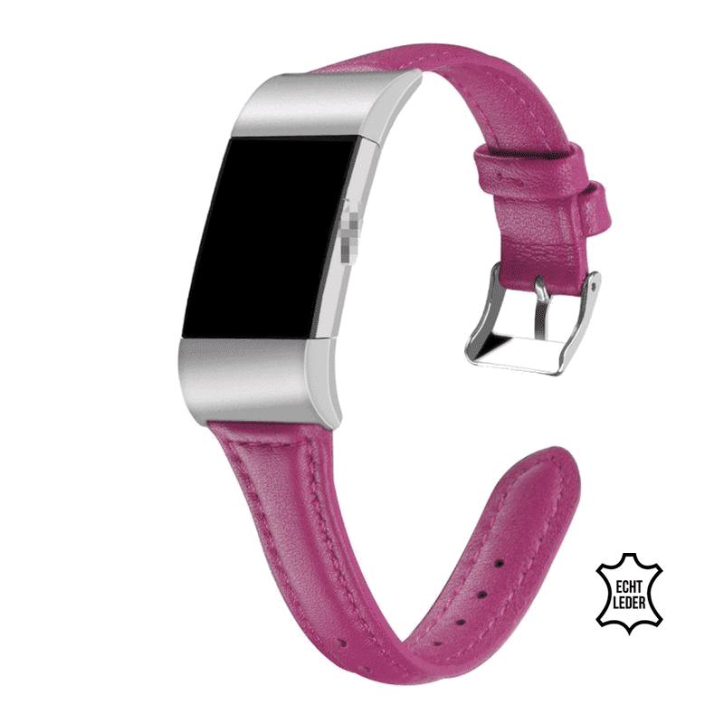 fitbit bandje charge 2 leer roze-rood - Fitbitbandje.nl