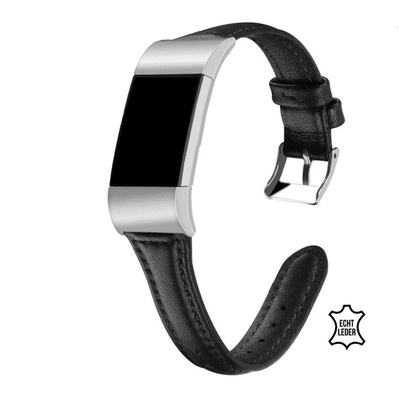 fitbit charge 2 bandje leer zwart - Fitbitbandje.nl