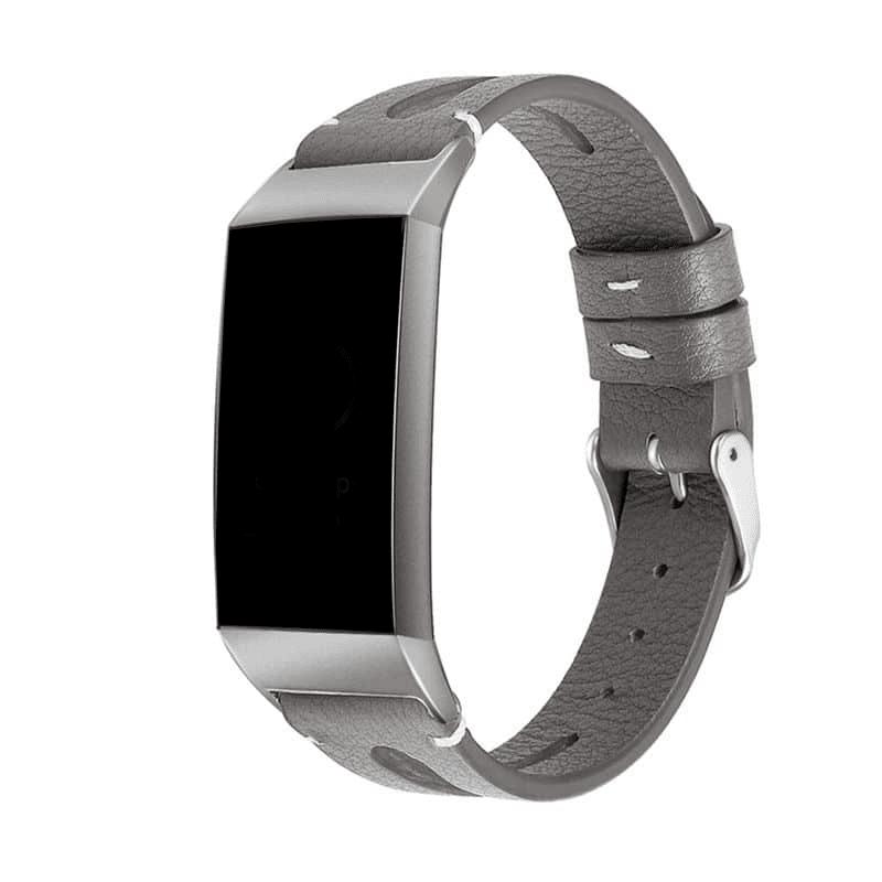 fitbit charge 3-4 bandje leer grijs - Fitbitbandje.nl