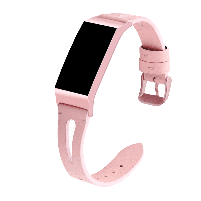 fitbit charge 3-4 bandje leer roze - Fitbitbandje.nl