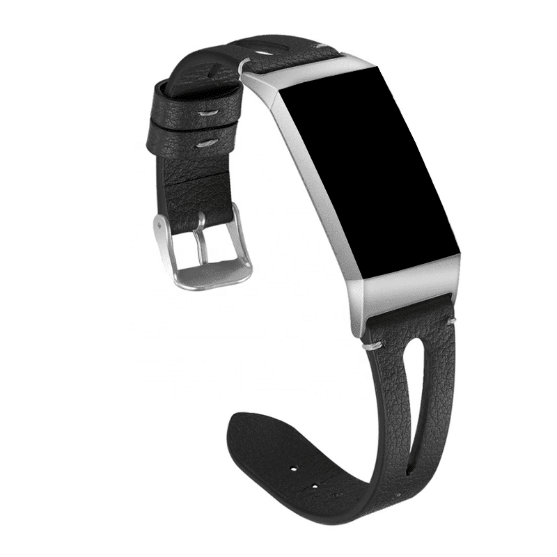 fitbit charge 3-4 bandje leer zwart - Fitbitbandje.nl