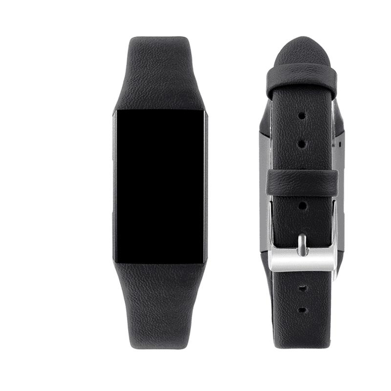 fitbit charge 4 bandjes leer zwart - Fitbitbandje.nl