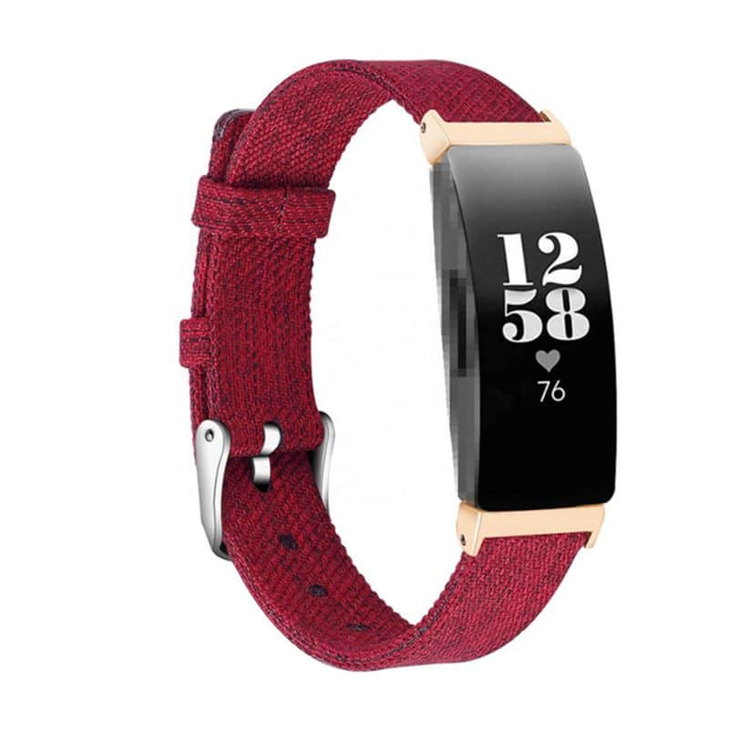 fitbit inspire hr rood canvas - Fitbitbandje.nl