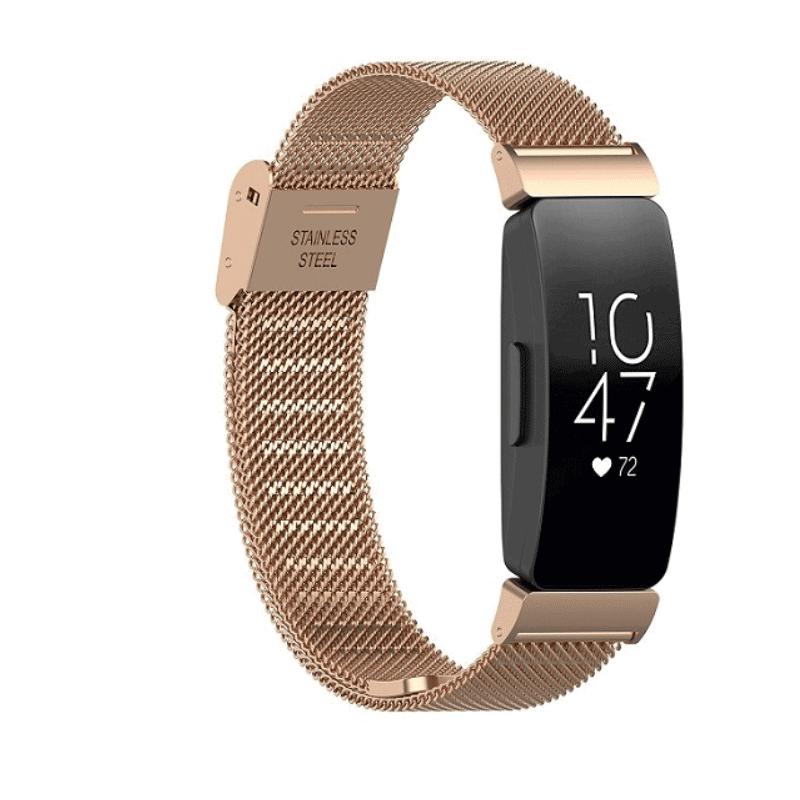 Fitbit inspire bandje milanese roze goud druksluiting - Fitbitbandje.nl