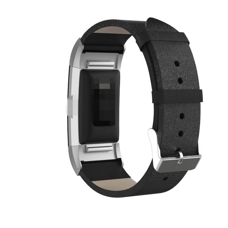 fitbit charge 2 bandje echt leer zwart - Fitbitbandje.nl