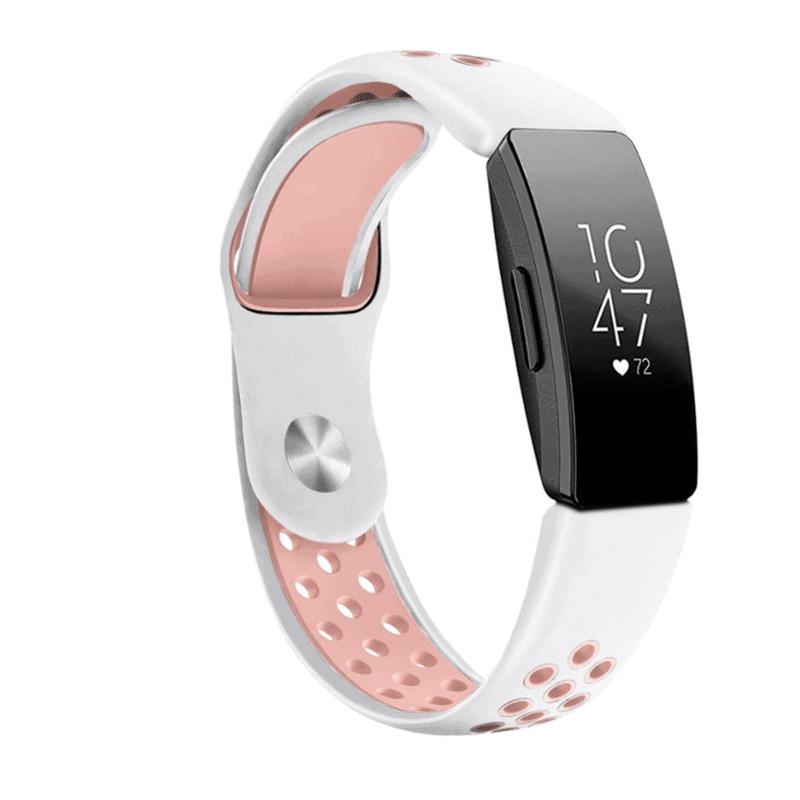 fitbit inspire sport bandje siliconen wit roze - fitbitbandje.nl