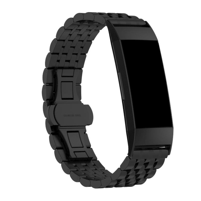 fitbit charge 4 bandje rvs zwart - Fitbitbandje.nl