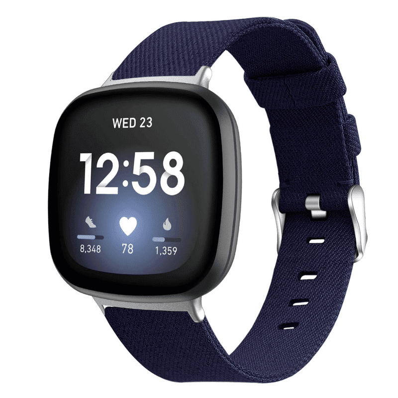 Fitbit versa 3 bandje marineblauw nylon - Fitbitbandje.nl