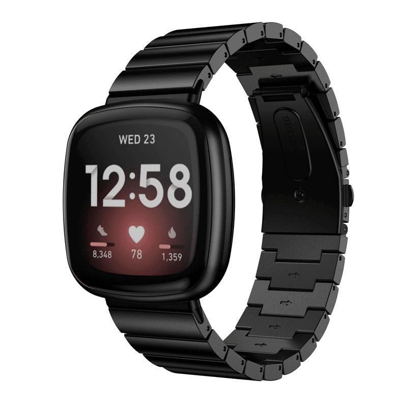 Fitbit versa 3 bandje rvs zwart - Fitbitbandje.nl